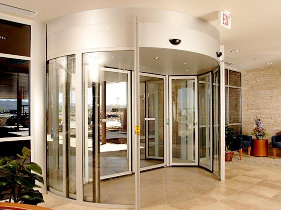 commercial door installation for revolving door by Texas Access Controls